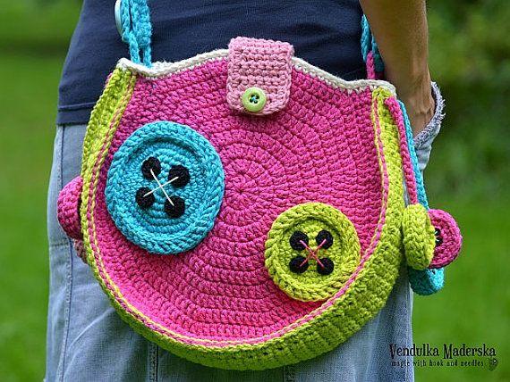 Crochet Buttons Bag crochet pattern DIY   Handarbeit   Pinterest ...