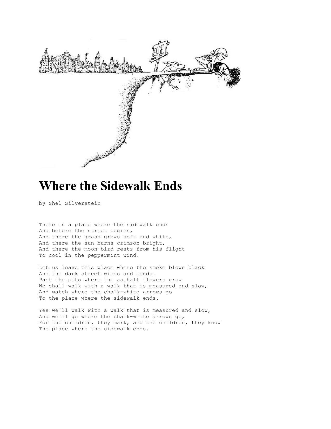 Google Image Result For Https Www Poemsearcher Com Images Poemsearcher E3 E36e64b7c262ce9c8c57d7495c6d6c5 In 2020 Where The Sidewalk Ends Shel Silverstein Peppermint