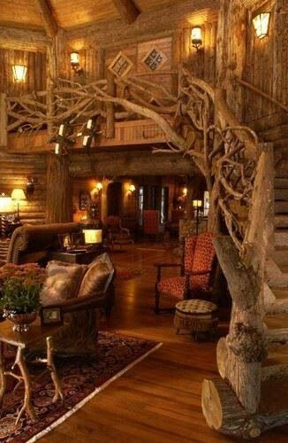 wood carved staircase, mountain home interior