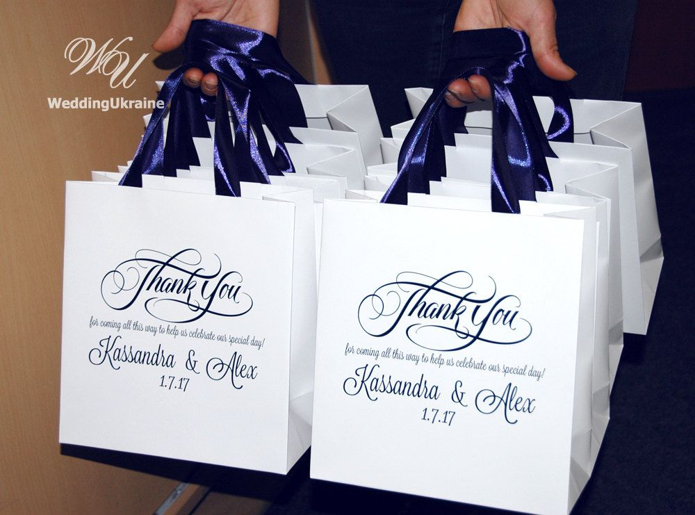 30 Wedding Welcome Bags With Navy Blue Satin Ribbon Names Thank You For Coming Personalized Paper Gift Guests