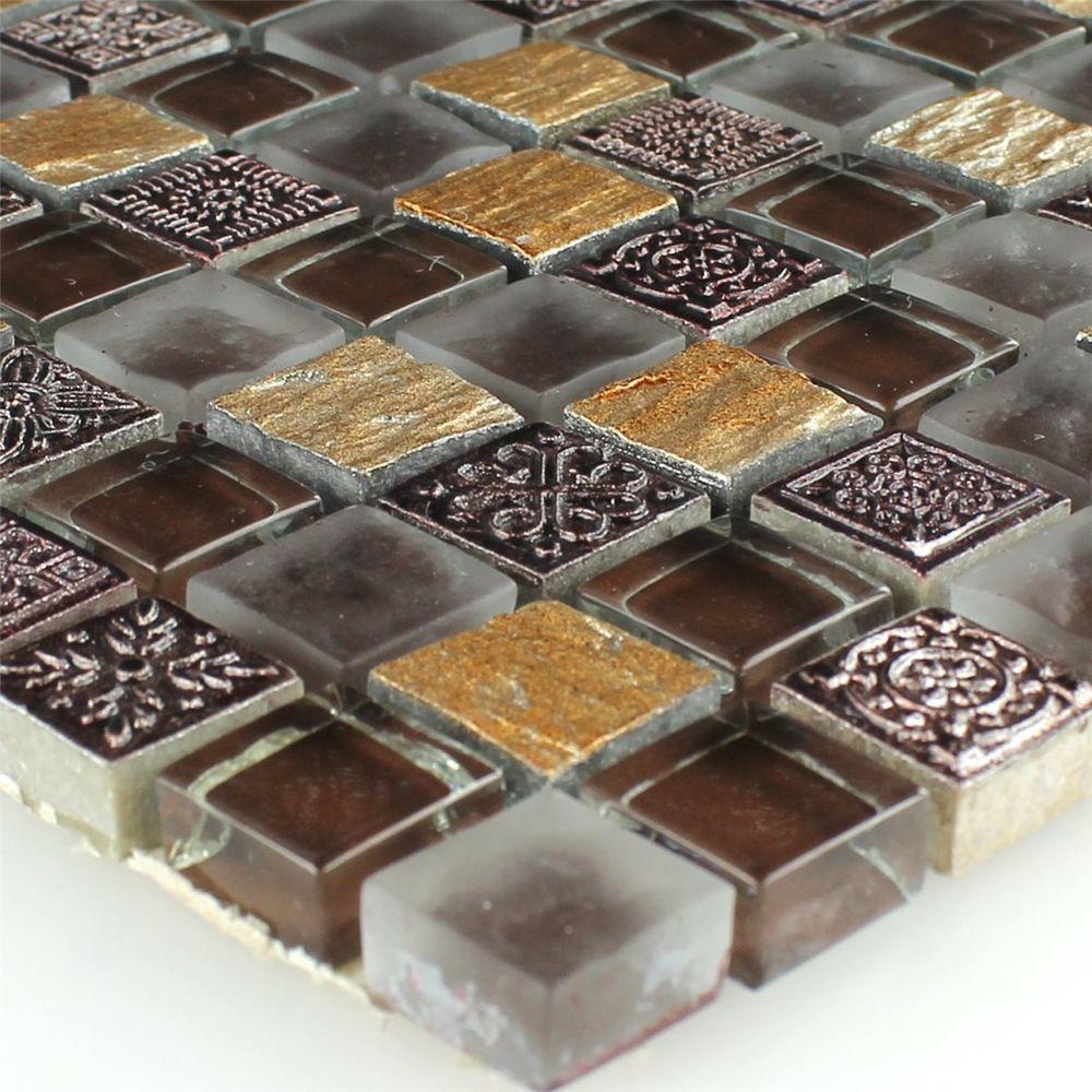 Mosaik Fliesen Glas Naturstein Mix Gold Braun13,60 zzgl. 5 EUR ...