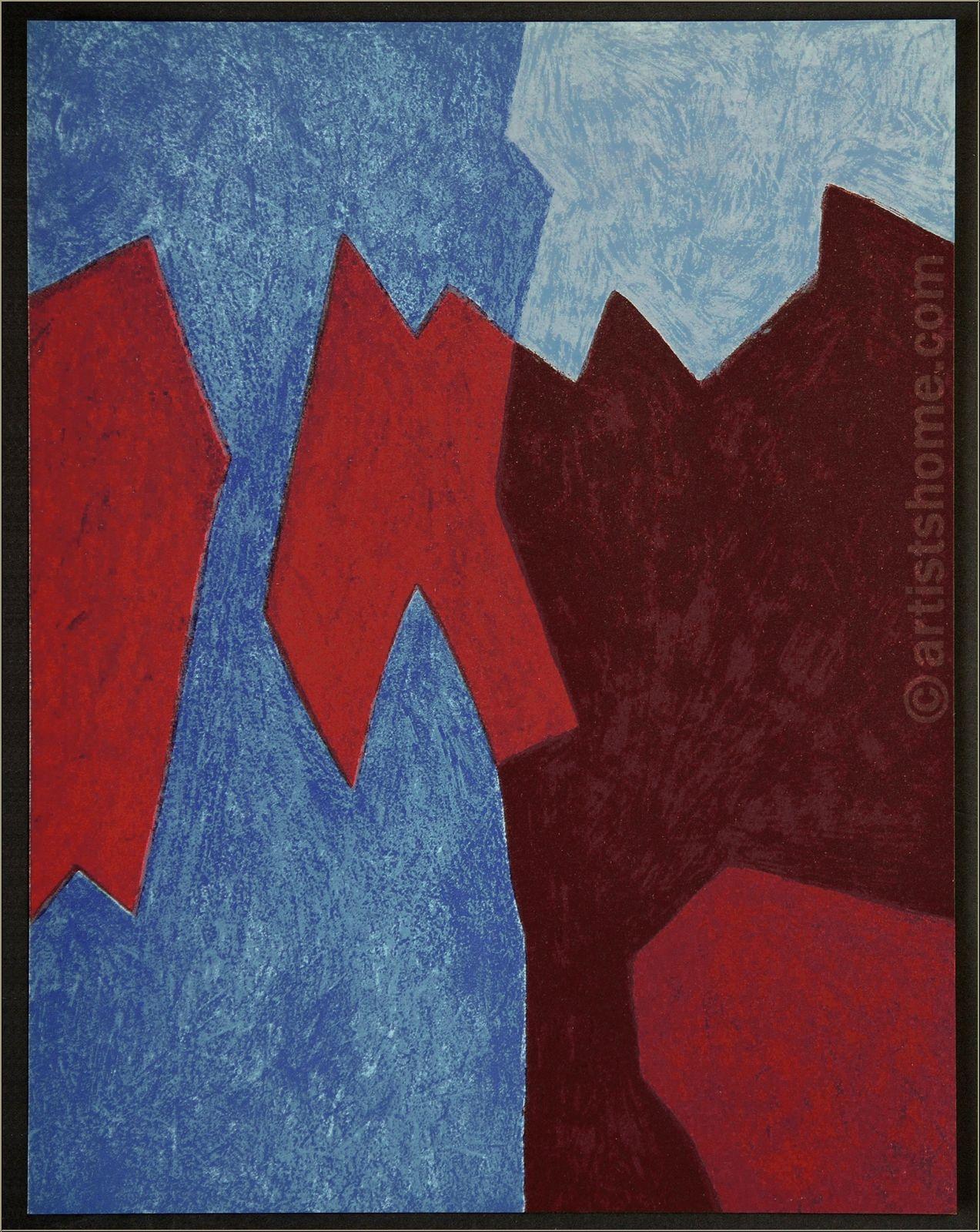 """Serge Poliakoff: Original Lithograph """"Composition rouge et bleu"""", 1968 ..."""