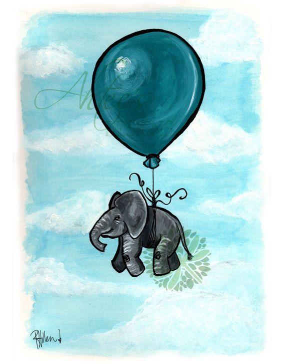 Art Painting Floating Elephants Balloon