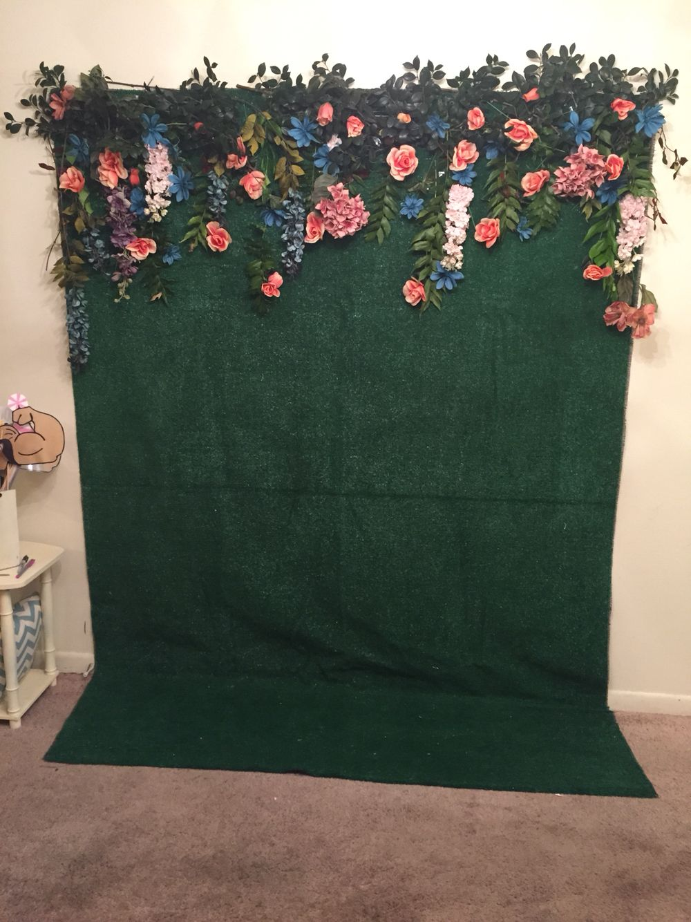 This was a photo booth backdrop I made using green turf
