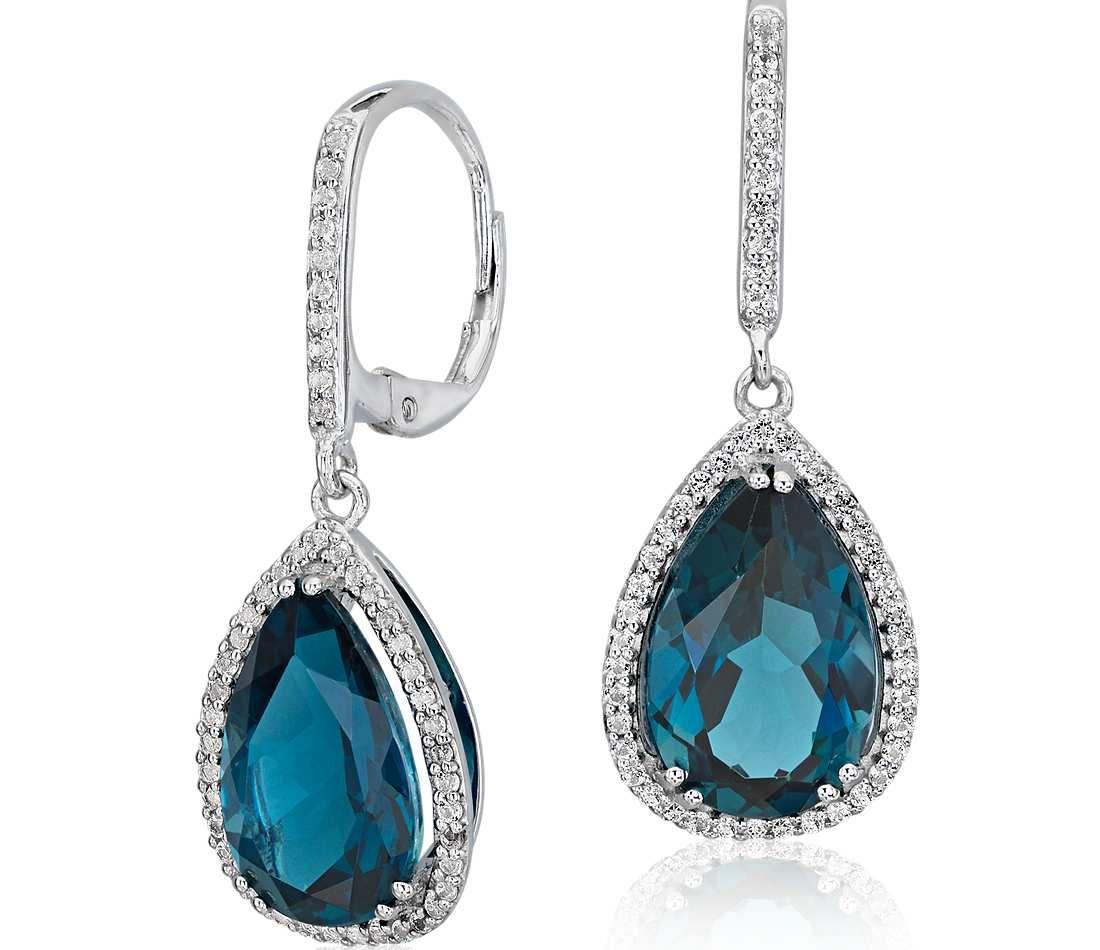 London Blue Topaz Elegant Halo Drop Earrings In Sterling Silver (14x9mm)