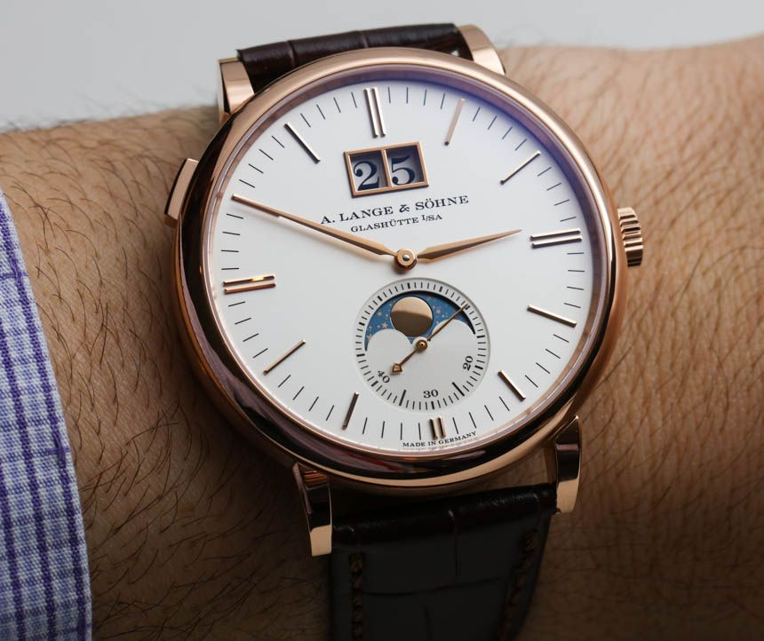 "A. Lange & Söhne​ Saxonia Moon Phase Watch Hands-On - by Ariel Adams - see & read more on aBlogtoWatch.com ""At SIHH 2016, German A. Lange & Söhne introduced a slew of impressive 'flagship' watches such as the incredible Datograph Perpetual Tourbillon. We often think of A. Lange & Söhne as a company that produces 'grail watches,' meant for only the most elite buyers. But, of course, the brand has a few models that are a bit more down to earth such as the easy-to-love Saxonia Moon Phase..."""