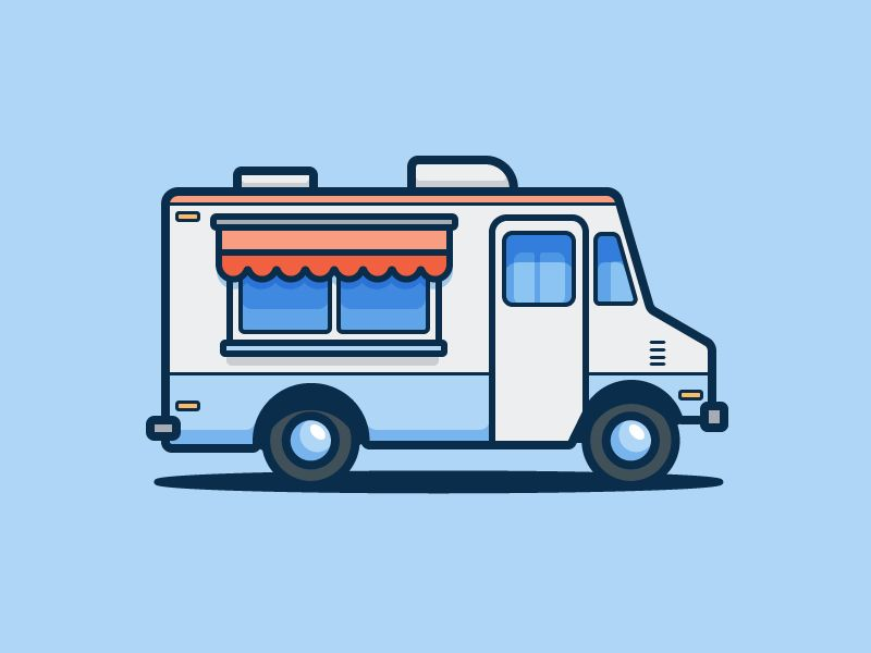 Food Truck Line Illustration Food Truck Truck Design