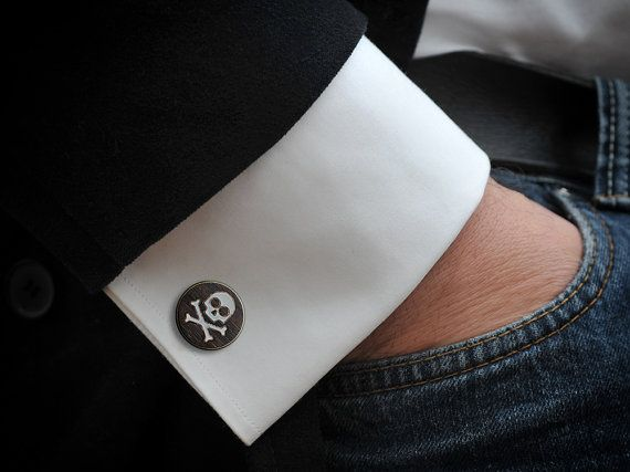Skull Cufflinks rosewood hand inlaid with by GothChicAccessories