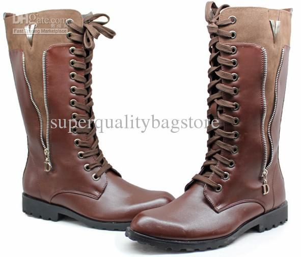 Cheap Pointed Toe Men'S Shoes Knee High Boots,Punk Zipper Lace Up ...
