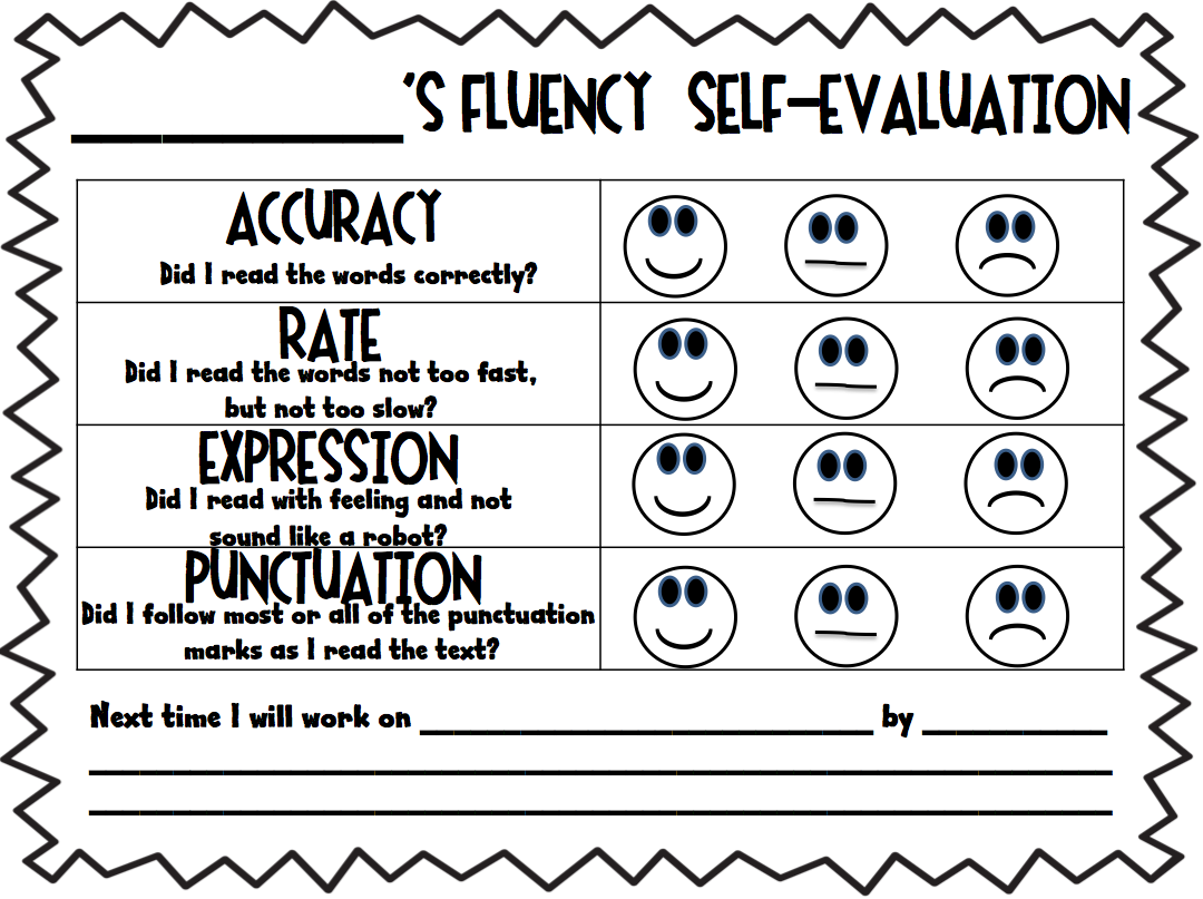 Fluency Self Evaluation This Is A Great Way For Children