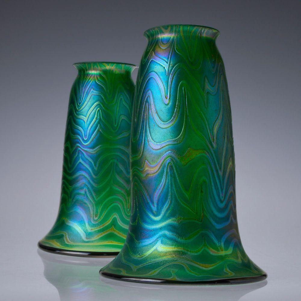Pottery barn clift glass lamp ebay - Hand Blown Iridescent Art Nouveau Jugendstil Glass Lamp Shades 2 25 Fitter
