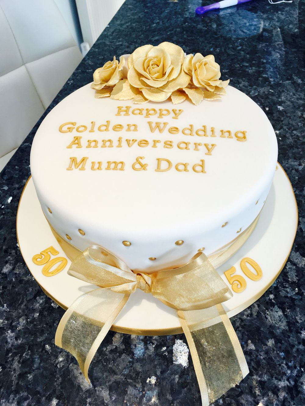 Golden Anniversary Cake With Images 50th Anniversary Cakes