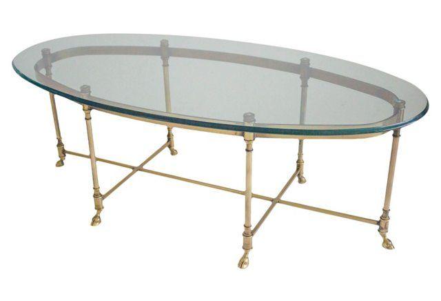 Brass U0026 Glass Oval LaBarge Coffee Table