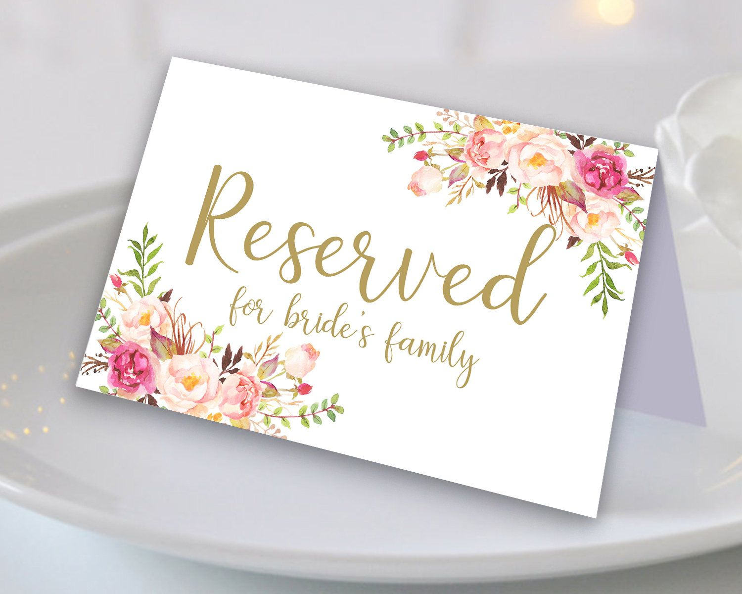 Fl Reserved Sign Printable Wedding