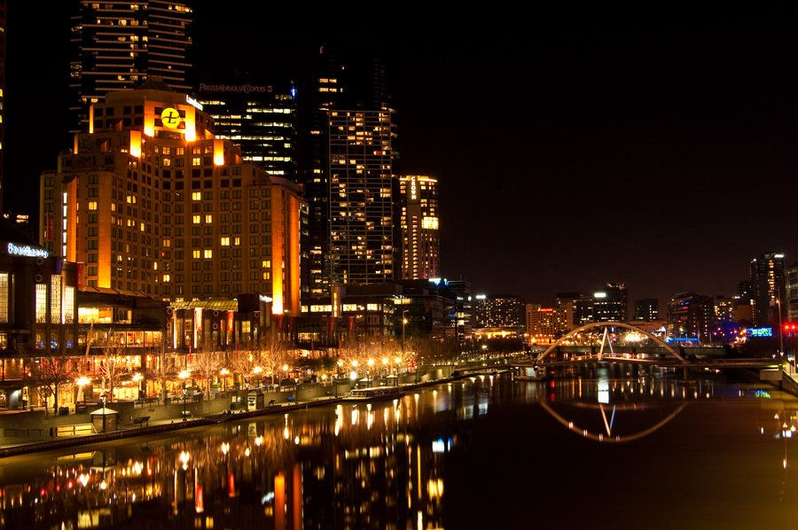 melbourne city at night by daniellepowell82