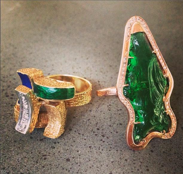 Green day enamel glass rosegold yellowgold diamonds for Roy rose jewelry fairhope al