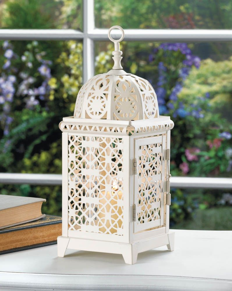 medium white Moroccan Marrakech shabby Lantern Candle holder wedding ...