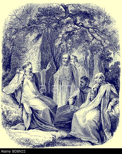 Druids in the Sacred Grove Illustration from The Illustrated History of the World Ward Lock c 1880