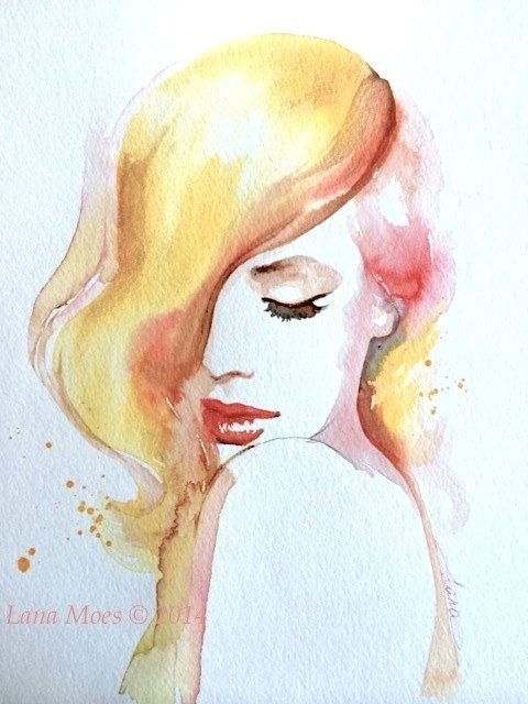warme farben malerei, soft colors original watercolor painting - warm colors decor - lana, Innenarchitektur