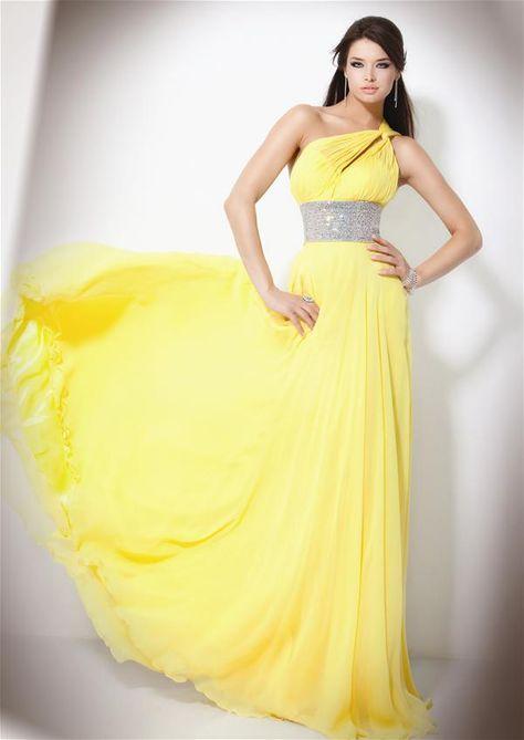 05a043a09 Modelos de Vestidos de Fiesta largos de color Amarillo