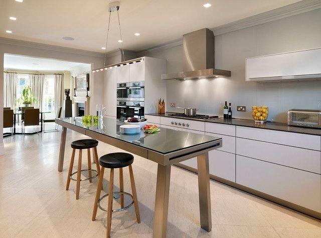 moderne küche weiß edelstahl hochglanz weiß | hausideen, Kuchen