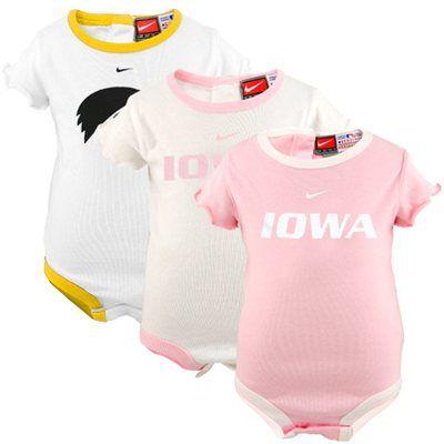 Nike Iowa Hawkeyes Infant Girls Pink-White 3-Pack Creeper Set