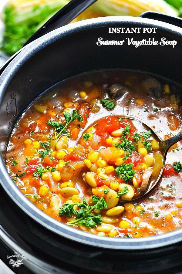 A light and healthy homemade Summer Vegetable Soup can be made in the Instant Pot pressure cooker, in the slow cooker, or on the stovetop for an easy dinner recipe! Vegetarian Recipes | Crock Pot Recipes | Healthy Recipes | Weight Watchers Freestyle | Zero Points