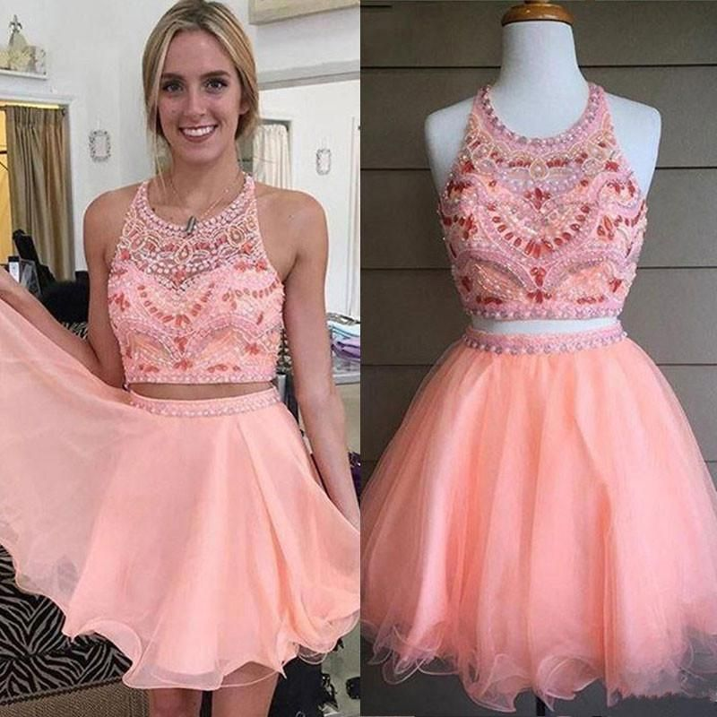 Blush Pink Tulle with Beaded Bodice Halter Two Pieces Homecoming ...