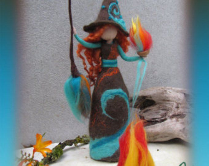 Jule - felted witch, neddle felted and wet felted | Nuno ...