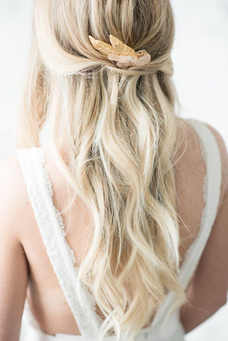 wedding hair, bridal updo, natural waves, blonde hair style