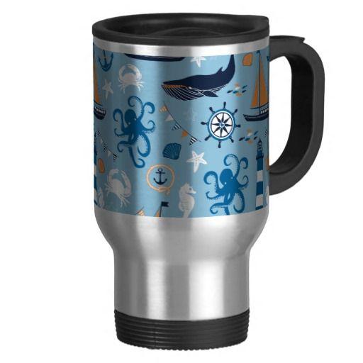 Nautical Ocean Blue and Orange Mugs