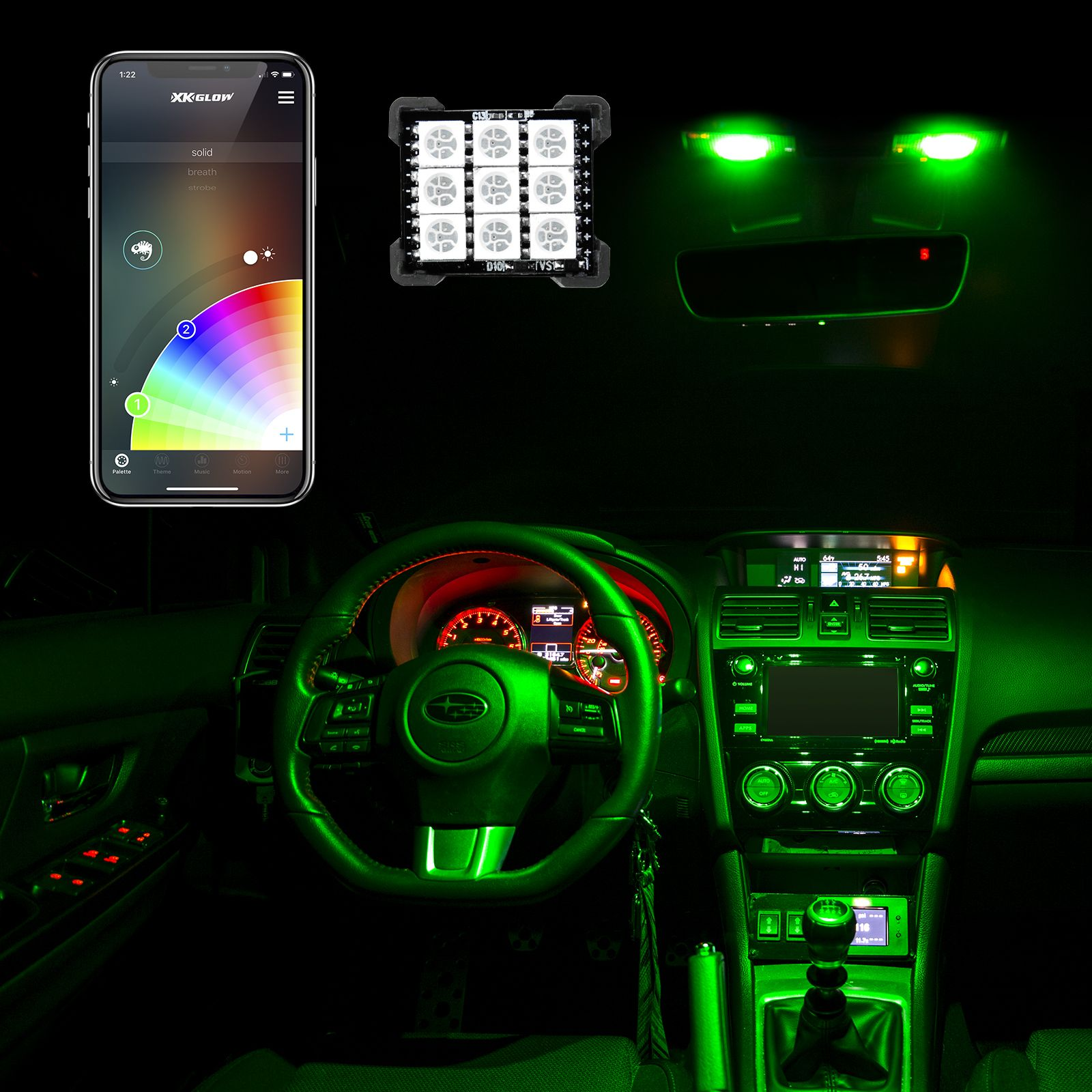 T10/BA9s/Festoon Bluetooth LED Panel Bulb XKchrome App