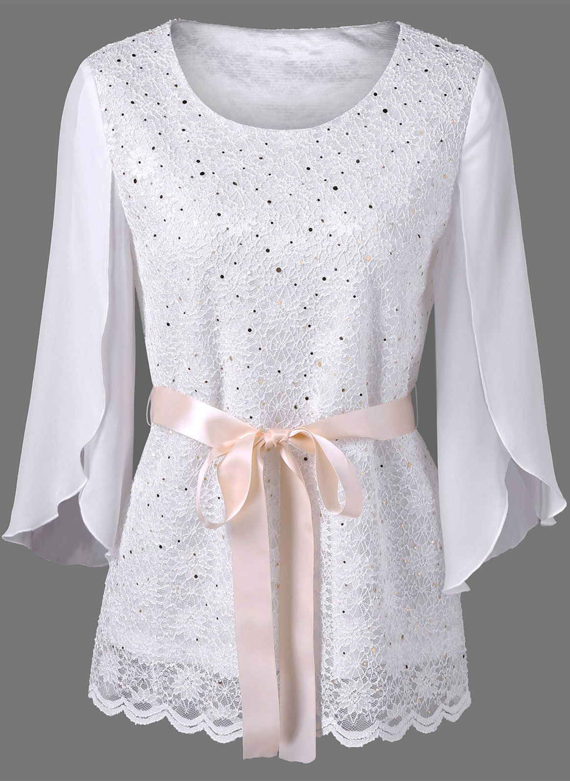sequined slit sleeve lace blouse white long sleeve casual