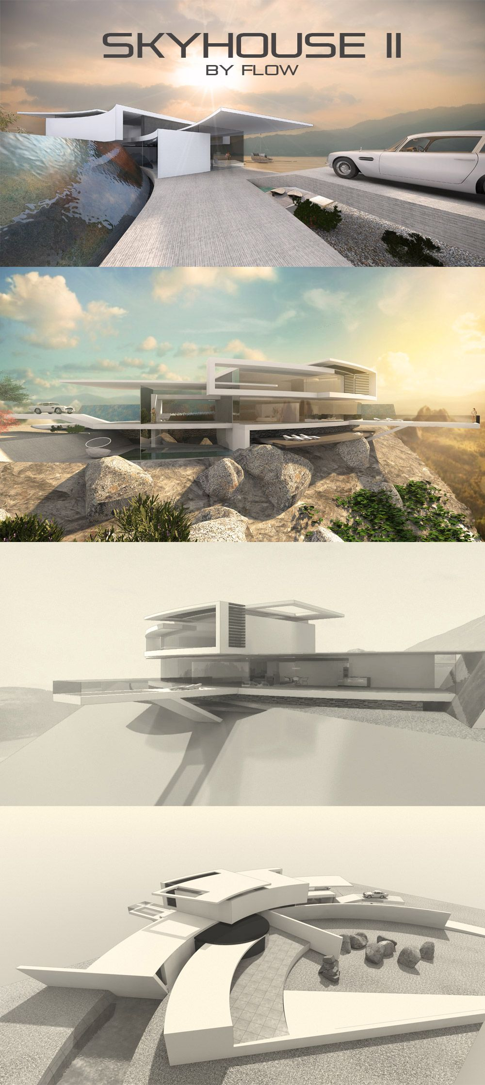 Futuristische villa am hang designstudie skyhouse ii for Villa flachdach