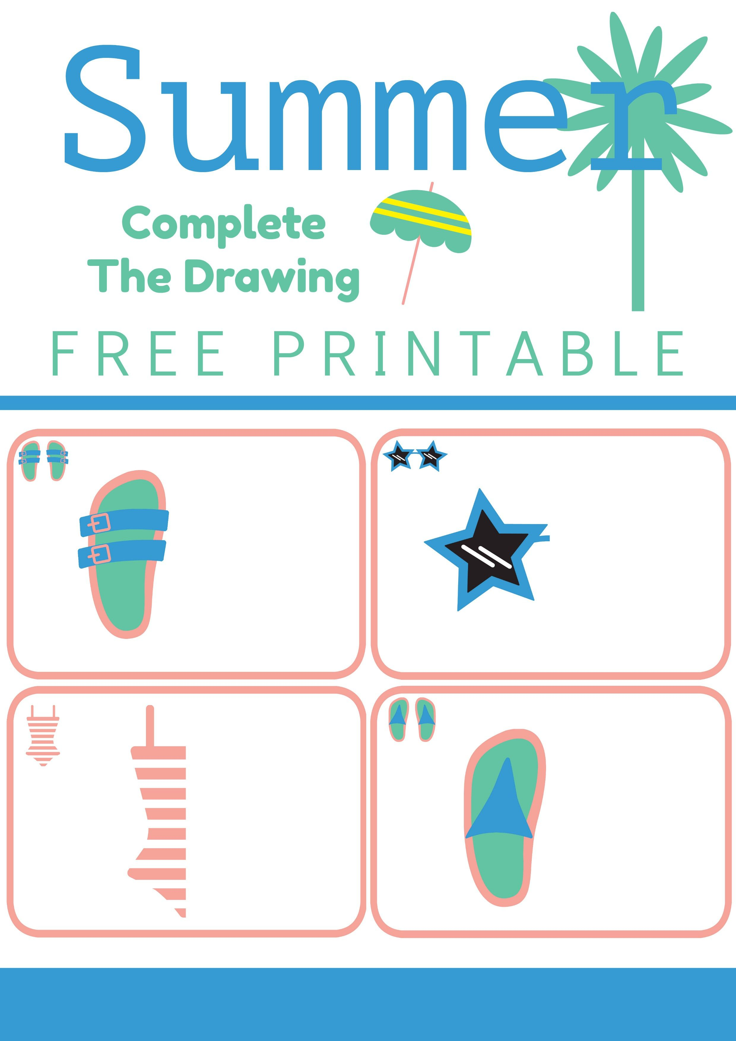 Free Printable Summer Complete The Drawing Worksheet