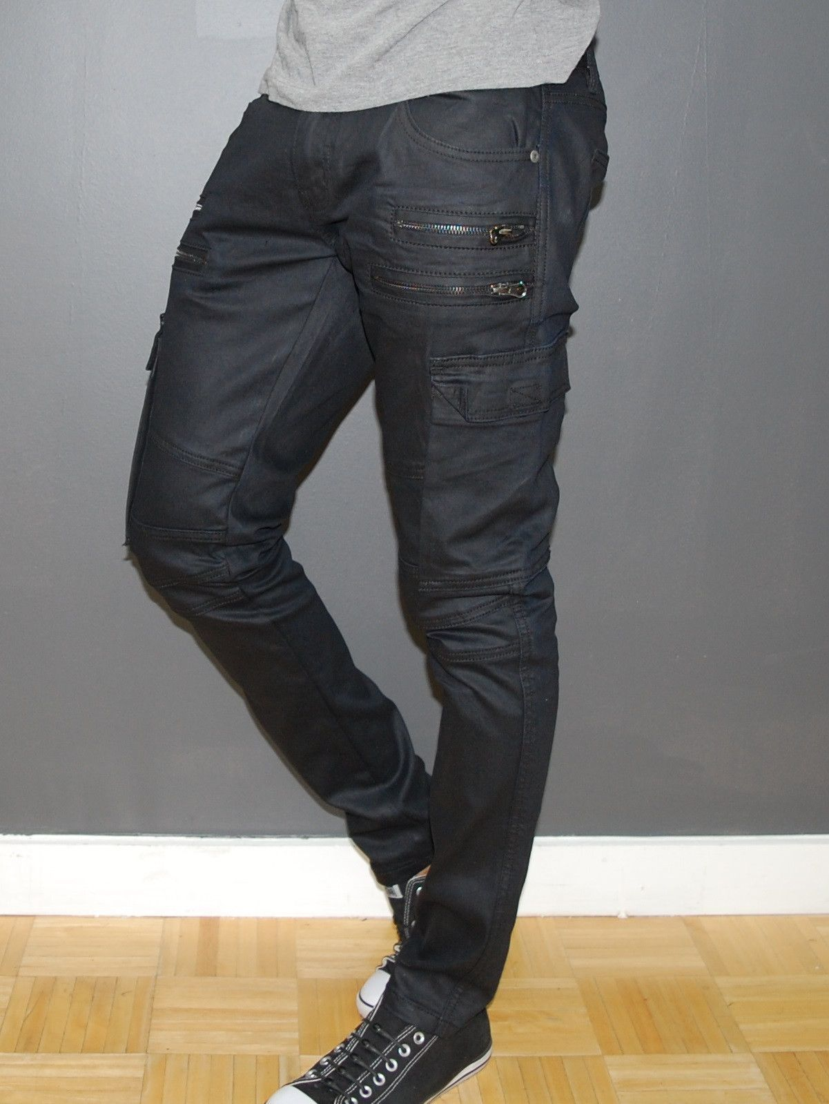 82333775f763ce Kilogram Men Slim Fit Side Zippers Coated Cargo Jeans - Black ...