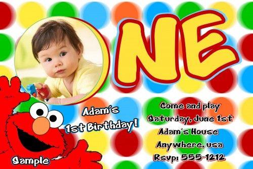 Elmo Sesame Street First Birthday Party Invitation Templates