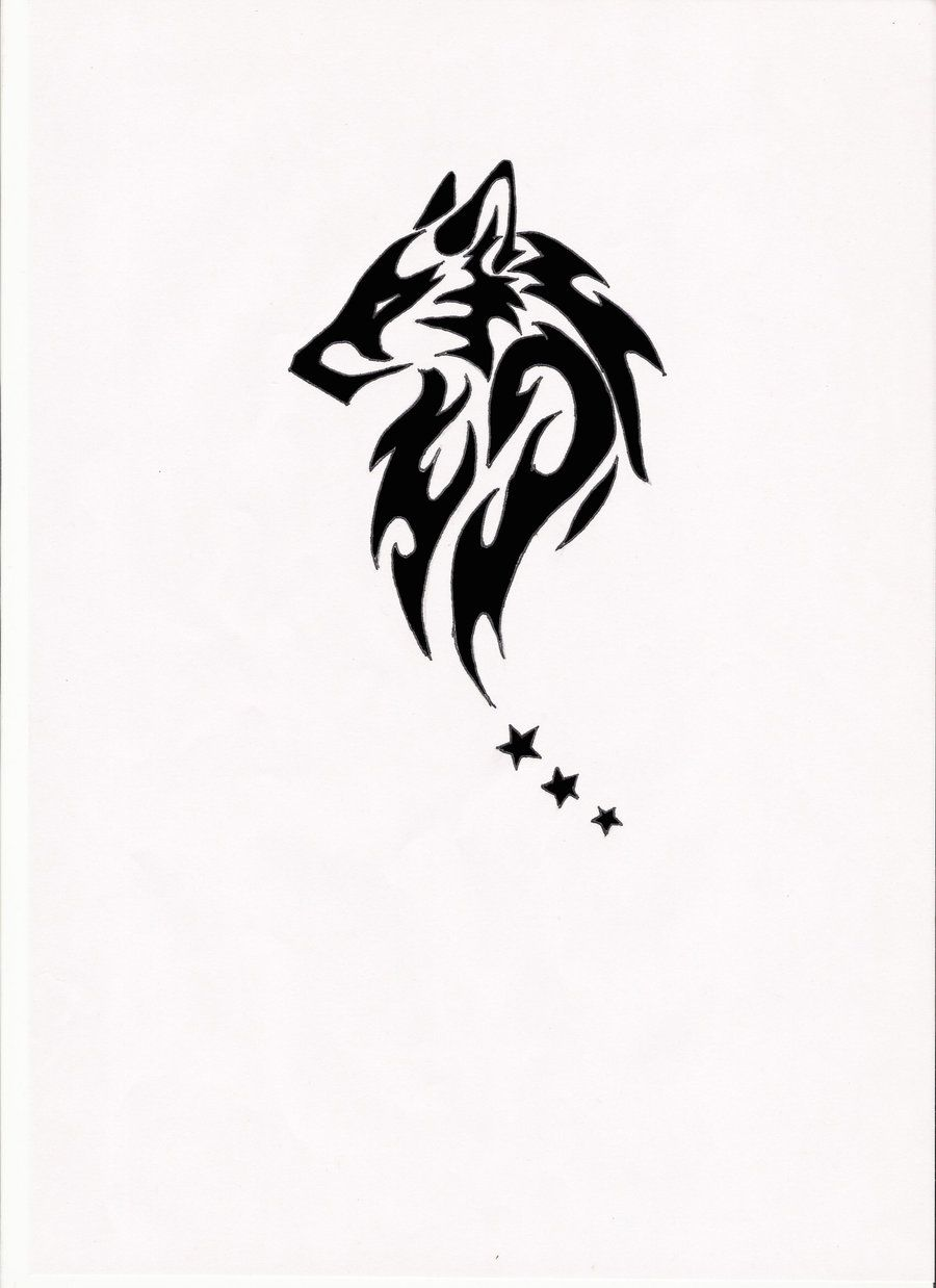 Tribal Wolf Tattoo Idea Three Stars Or Three Circles Or Three Paws Mirorred On The Back As If Wings Designs Tribal Wolf Tattoo Wolf Tattoos Men