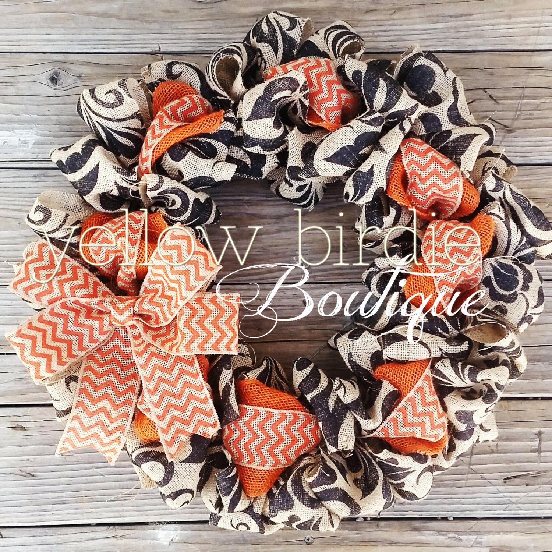 Fall Burlap Wreath - Black and Orange Chevron Burlap Wreath - halloween front door decor