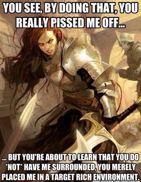 Bad taste Fantasy female armor meme that interfere