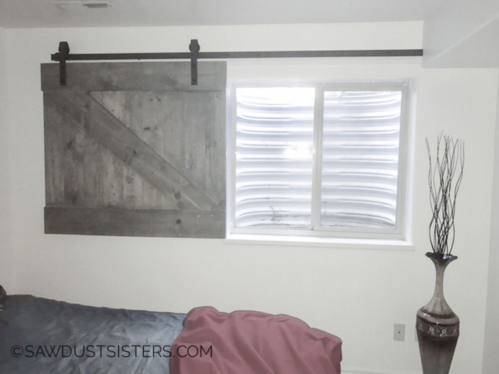 Diy Barn Door Style Window Covering Barn Door Window Diy Barn Door Barn Door Sliders
