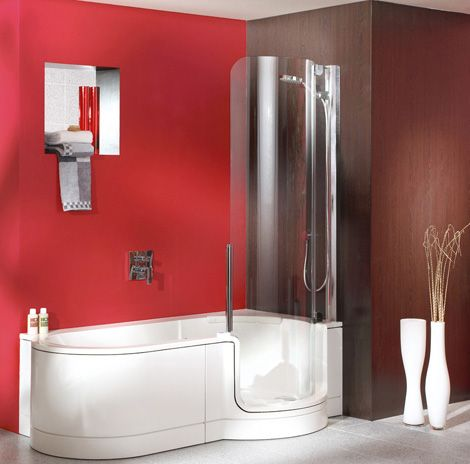 Sunken Tub Shower Combination Tub Shower From Artweger Twinline Showers Bathroom Shower Designssmall