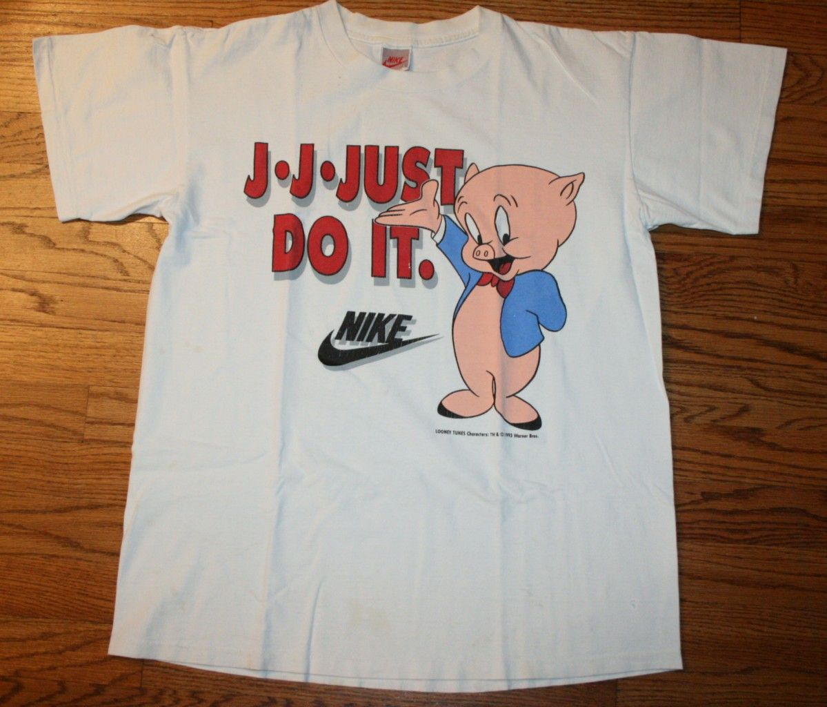 Vintage 1993 NIKE JUST DO IT PORKY PIG Looney Tunes T