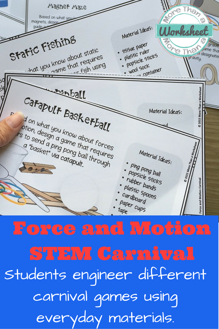 Force and Motion STEM Carnival! This is a fun STEM activity that includes  26…