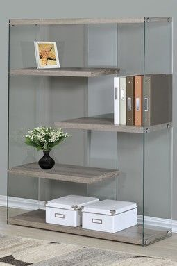Dark Taupe Reclaimed Look/Tempered Glass Bookcase