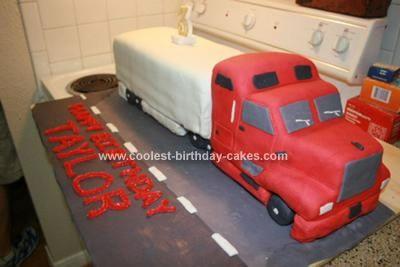 Homemade 18 Wheeler Birthday Cake cakes Pinterest Birthday