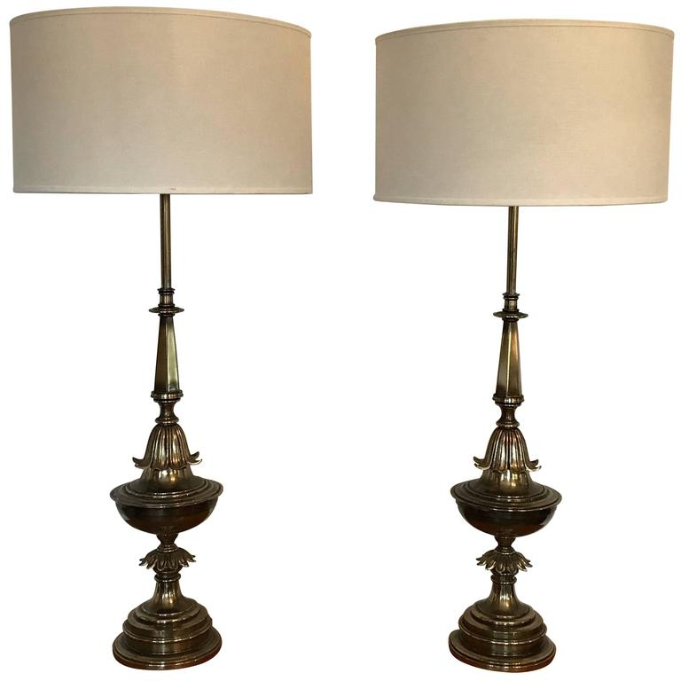 Pair Of Hollywood Regency Style Brass Table Lamps 1940 S With Images Brass Table Lamps Table Lamp Vintage Table Lamp