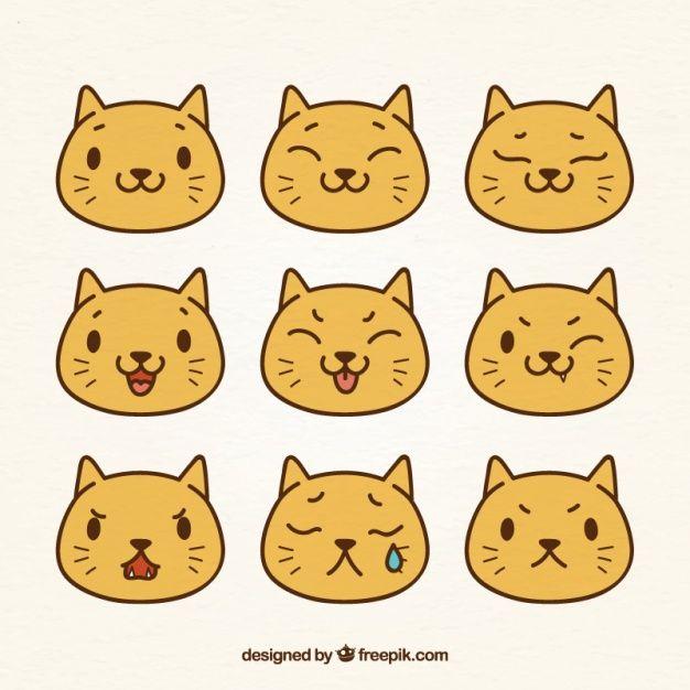 Download Flat Pack Of Cute Cat Emojis For Free Funny Face Drawings Cat Emoji Cute Cat