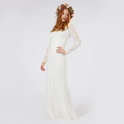 NEW Debenhams White Ivory Lace Sequin Train Fishtail Bridal Wedding Dress Maxi