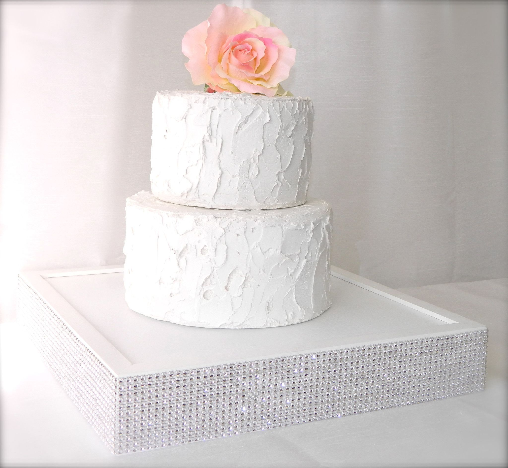 White Jeweled Wedding Cake Stand | 14 x 14 x 2.5 wedding cake box ...